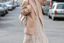 04 a beautiful pastel look with a polka dot midi dress, an oversized blush blazer, neutral shoes and a bag