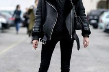 04 a casual winter look with a grey sweater, a black aviator coat, black jeans and black combat boots