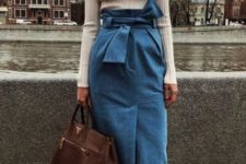 04 a creative and girlish look with a neutral turtleneck, a blue denim pencil midi skirt, polka dot shoes and a brown bag