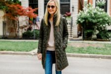 04 a green quilted coat with brown edging is a stylish idea to wear this fall and the color is pretty basic