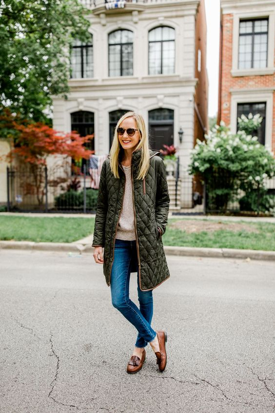 a green quilted coat with brown edging is a stylish idea to wear this fall and the color is pretty basic