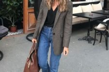 05 a printed oversized blazer, a black top, blue cuffed jeans, black shoes and a copper bag for a casual work look