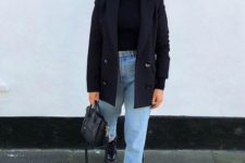a cool look with a turtleneck and an oversized blazer