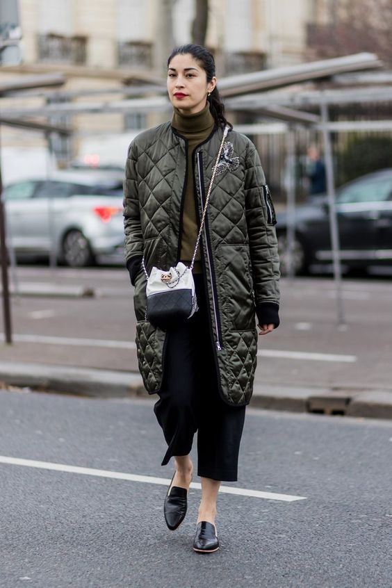 a bomber-inspired khaki quilted coat is a great idea for fall and it's sport-inspired