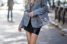 06 a nude turtleneck, a black leather mini skirt, black combat boots, a grey plaid blazer and a grey bag