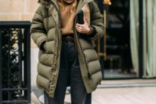 06 a trendy outfit with a camel turtleneck, blakc shaggy jeans, two tone booties and an oversized green padded coat