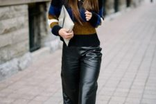 07 a striped sweater, black leather culottes, black Manolo Blahnik shoes and a neutral clutch