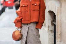 07 a tweed midi skirt on buttons, tall sock boots, an oversized orange blazer coat and an orange bag