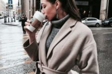 07 wear a woolen wrap coat over your sweater and you'll feel comfortable and warm in the winter
