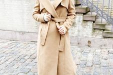 08 a chic camel wrap coat of a midi length and two toned shoes for an ultimately elegant look in winter