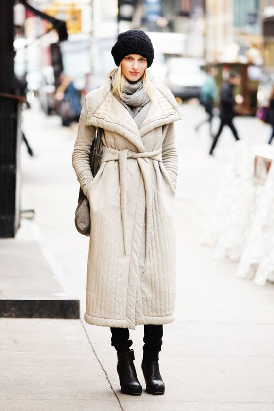 a creamy quilted coat with a sash to accent the waist is a very cool and cute idea