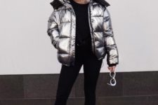 08 a simple and stylish look with a black jumper, skinnies, white sneakers and a silver puffer jacket