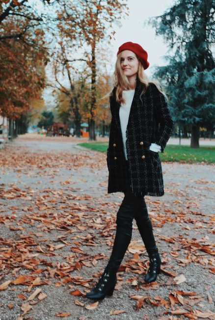a beret can be also paired with a blazer coat, too, and it will look cool and chic