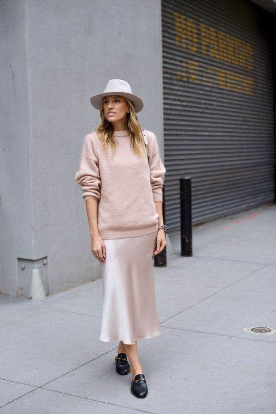 a silver midi slip dress, a blush sweater, a creamy hat and black slipper mules for a trendy fall outfit