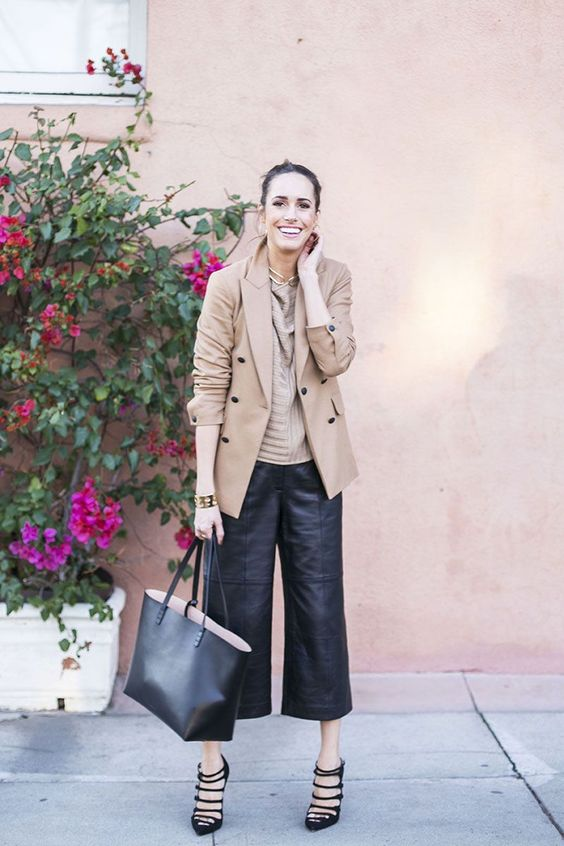 an office look with a camel top, a matching blazer, black leather culottes, strappy shoes and a black tote
