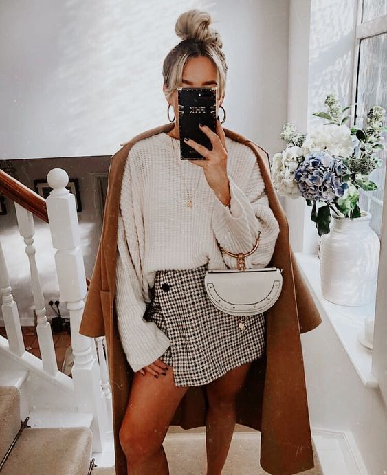 a fall look with a white jumper, a printed mini skirt, a camel coat and a white bag with a ring handle