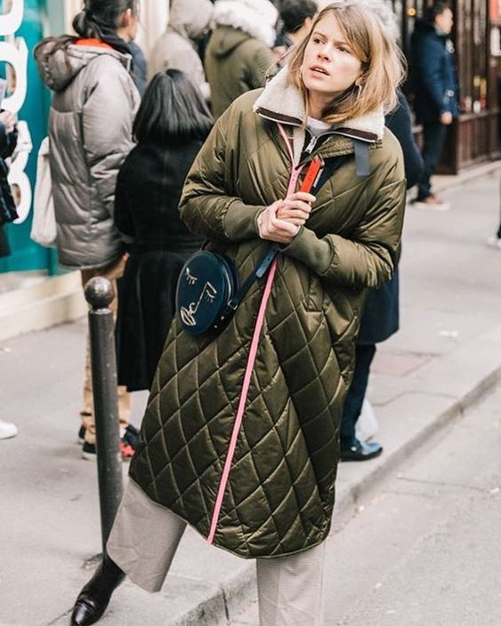 a green quilted coat is very comfortable and stylish for fall and winter and it looks pretty