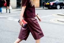 11 a burgundy velvet top, burgundy leather culottes, black heels for a statement monochromatic fall look