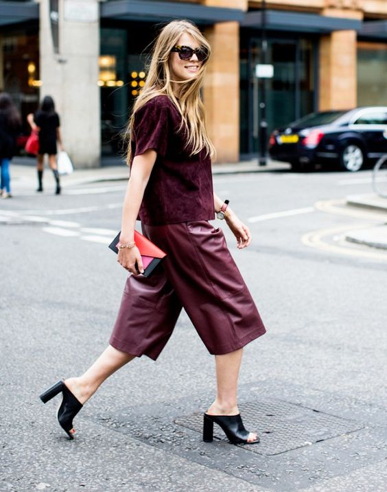 a burgundy velvet top, burgundy leather culottes, black heels for a statement monochromatic fall look