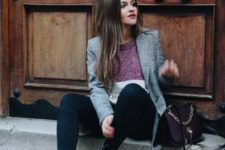 12 a jumper, a grey checked blazer, navy skinnies, black combat boots and a burgundy bag for the fall