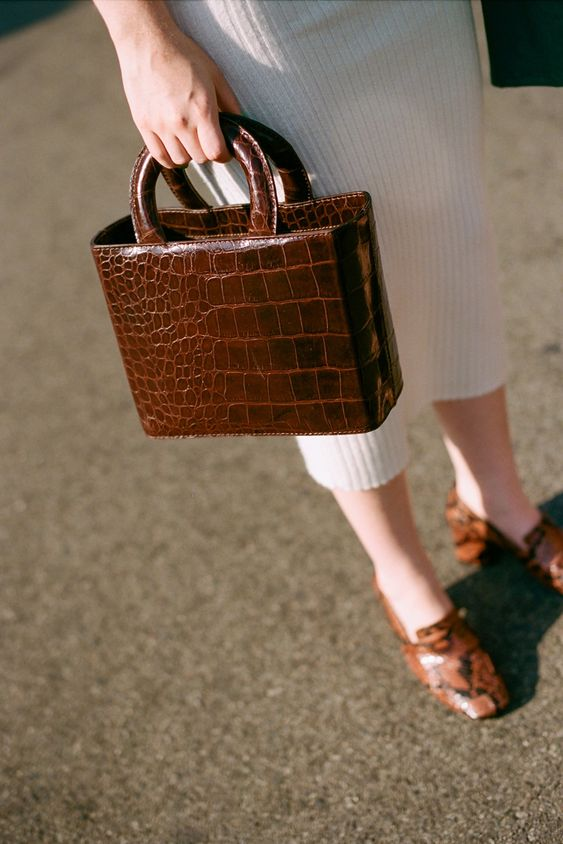 a mini crocodile leather bag with a rigid shape is amazing for this fall and winter