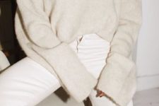 12 a monochromatic outfit with straight white jeans, a creamy oversized jumper and a statement necklace