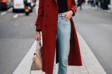 12 a rust-colored straight midi coat makes a bold color accent in this basic outfit for every day