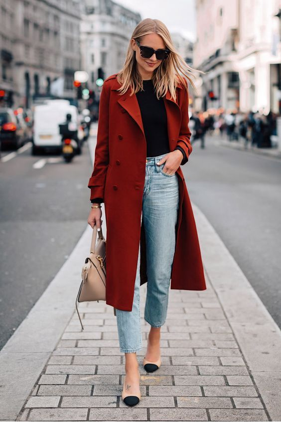 a rust colored straight midi coat makes a bold color accent in this basic outfit for every day