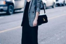 13 a black midi slip dress, an oversized plaid blazer, black boots and a black bag for an everyday look