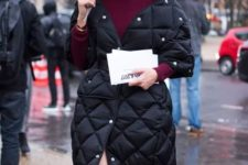 13 a navy quilted coat paired with burgundy looks very elegant and chic calming down the outfit