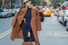 13 a work look with a navy sweater dress, a camel straight coat, a matching bag and camel slip loafers