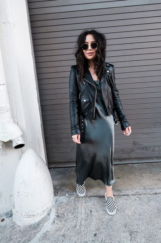 a black slip dress, checked slipons and a black leather jacket for a badass yet chic outfit
