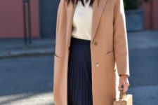 14 a casual work look with a navy pelated midi, a white top, a blush straight coat and a stylish bag