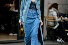 14 a full denim look with a dark denim top, a blue maxi skirt and a blue denim trench on buttons plus nude shoes