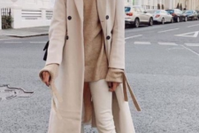 14 a neutral monochromatic outfit with a neutral fedora hat paired with a coat looks very pretty and very chic
