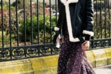 14 a purple floral midi dress, a black and white aviator coat, black grunge boots with belts