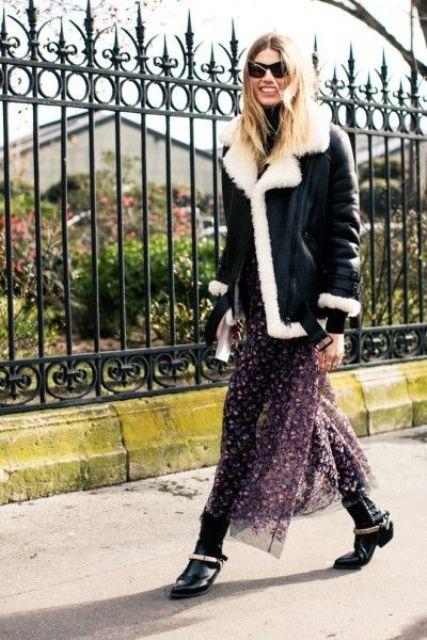 a purple floral midi dress, a black and white aviator coat, black grunge boots with belts