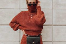 14 a rust-colored knit suit with a turtleneck sweater, a belt bag and a turban for an edgier look