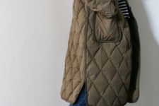 14 a taupe midi quilted coat with pockets is ultimate comfort and chic for fall and winter