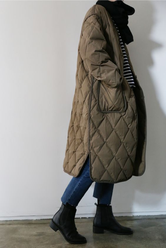 a taupe midi quilted coat with pockets is ultimate comfort and chic for fall and winter