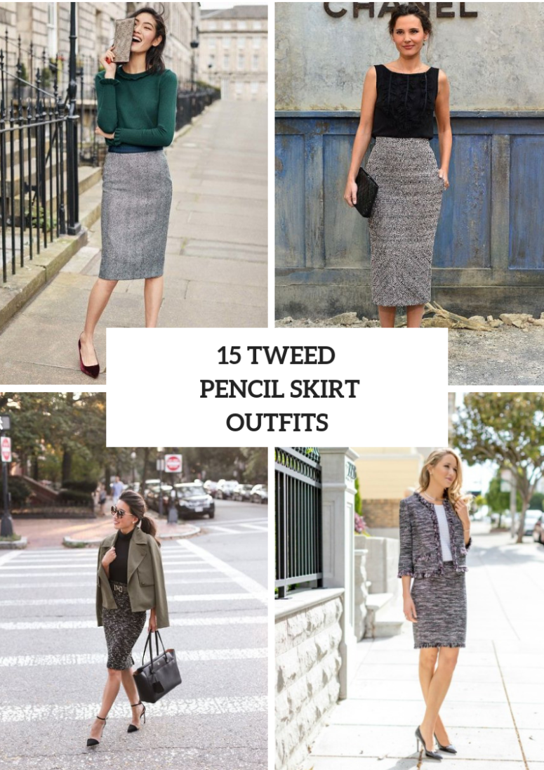 15 Fall Outfits With Tweed Pencil Skirts