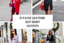 15 Outfits With Faux Leather Slit Skirts