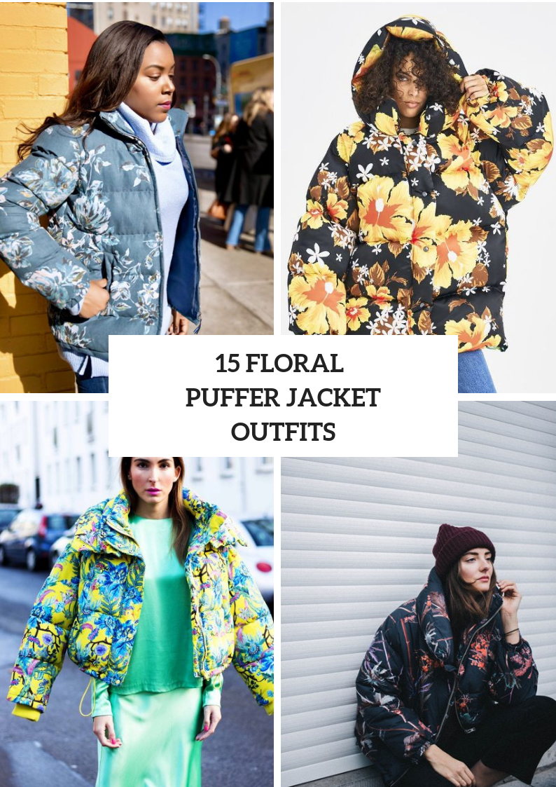 Outfits With Floral Puffer Jackets For Women