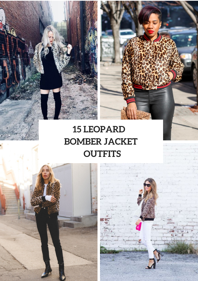 Outfits With Leopard Bomber Jackets