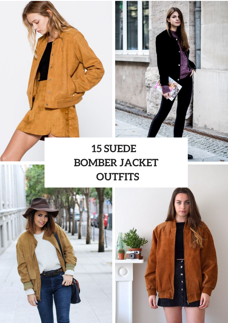 Outfits With Suede Bomber Jackets For Ladies