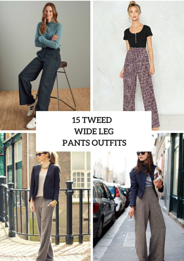 Outfits With Tweed Wide Leg Trousers