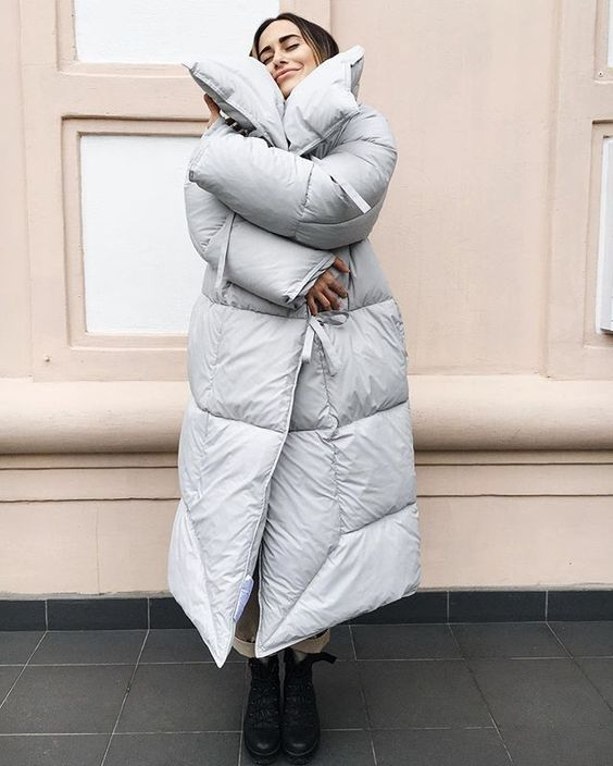 a dove grey blanket padded coat is a stylish and trendy idea that will make you feel warm