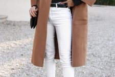 15 a stylish outfit with cropped white skinnies, a black top, a camel straight knee coat, fuchsia colored slippers