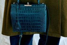 15 a teal crocodile leather bag with a vintage design will give a refined feel to your look
