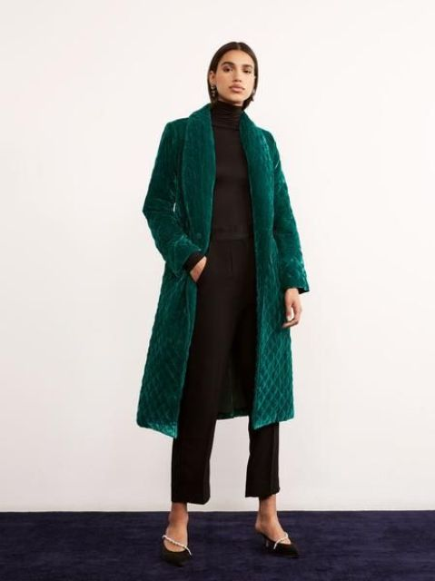 an emerald green quilted velvet coat will make you feel comfortable and will make a statement with its color